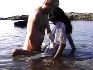 Indian Stunner Jerking Big Milky Shaft At Beach In Goa