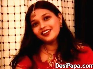 Indian Wifey In Crimson Sari Striptease Showcase
